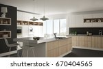 modern white kitchen with... | Shutterstock . vector #670404565