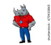 rhino trainer | Shutterstock . vector #670410865