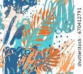 art illustration  rough grunge... | Shutterstock .eps vector #670412791