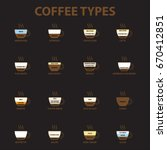 coffee types icon set ... | Shutterstock .eps vector #670412851