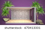 interior with large window. 3d... | Shutterstock . vector #670413331