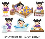 the daily routine of asian girl ... | Shutterstock .eps vector #670418824