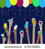 hands with drinks of alcohol in ... | Shutterstock .eps vector #670418881