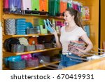 pretty girl with disposable... | Shutterstock . vector #670419931