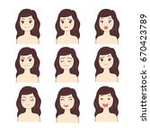 actions face woman vector. | Shutterstock .eps vector #670423789