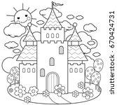beautiful fairy tale castle.... | Shutterstock . vector #670424731