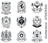 vintage decorative emblems... | Shutterstock .eps vector #670429345