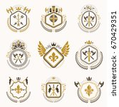 heraldic decorative emblems... | Shutterstock .eps vector #670429351