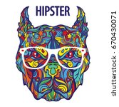 ornament face of hipster... | Shutterstock .eps vector #670430071