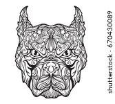 ornament pitbull face in line... | Shutterstock .eps vector #670430089