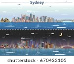 sydney day and night city... | Shutterstock .eps vector #670432105