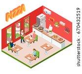 isometric pizzeria background...