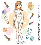 beautiful redhead woman adult... | Shutterstock .eps vector #670432711