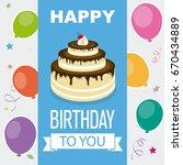 happy birthday invitation with... | Shutterstock .eps vector #670434889