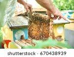 cropped shot of a beekeeper... | Shutterstock . vector #670438939