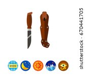 sharp puukko knife icon | Shutterstock .eps vector #670441705
