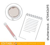 cup notes pen view of top.... | Shutterstock .eps vector #670442695
