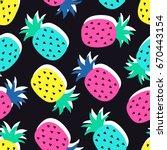 vector seamless pineapple fruit ... | Shutterstock .eps vector #670443154