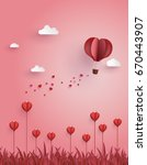 greeting card of hot air... | Shutterstock .eps vector #670443907