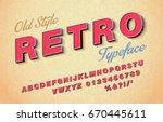 vector 3d oblique retro font ... | Shutterstock .eps vector #670445611