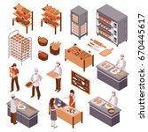 bakery isometric icons set of... | Shutterstock .eps vector #670445617
