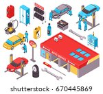 auto service isometric icons... | Shutterstock .eps vector #670445869
