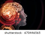 abstract red digital human... | Shutterstock . vector #670446565