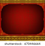 gold and red frame with corner...