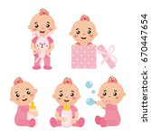 set with cute little baby girl... | Shutterstock .eps vector #670447654