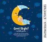 """good night my little prince""....   Shutterstock .eps vector #670447681"