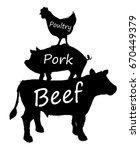 hand drawn farm animal... | Shutterstock .eps vector #670449379