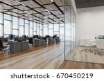 open space office interior with ... | Shutterstock . vector #670450219