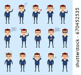 set of businessman characters... | Shutterstock .eps vector #670452535