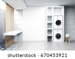 gray laundry room interior with ... | Shutterstock . vector #670453921