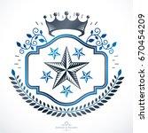 heraldic coat of arms  vintage... | Shutterstock .eps vector #670454209
