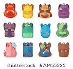 different schoolbags in cartoon ... | Shutterstock .eps vector #670455235