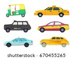 taxi cars in different cities.... | Shutterstock .eps vector #670455265