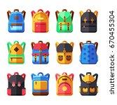 school backpacks vector set.... | Shutterstock .eps vector #670455304