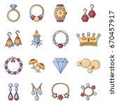 jewelry shop icons set. cartoon ...   Shutterstock .eps vector #670457917