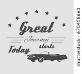 vintage cadillac car with text... | Shutterstock .eps vector #670458661