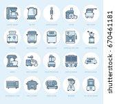 kitchen small appliances line... | Shutterstock .eps vector #670461181