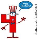 red number four cartoon mascot... | Shutterstock . vector #670463071