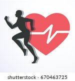 running and red heat with line... | Shutterstock .eps vector #670463725