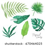 set of hand drawn watercolor... | Shutterstock . vector #670464025