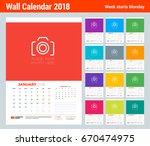vector calendar planner... | Shutterstock .eps vector #670474975