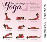 yoga poses for better sleep.... | Shutterstock .eps vector #670475575