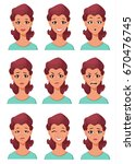 face expressions of a woman.... | Shutterstock .eps vector #670476745