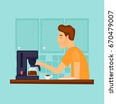 guy makes coffee in the morning.... | Shutterstock .eps vector #670479007