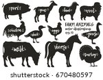 vector farm animals silhouettes.... | Shutterstock .eps vector #670480597