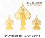 buddha and bodhi tree gold... | Shutterstock .eps vector #670482445